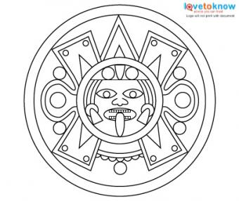 Aztec tattoo designs for Aztec sun coloring page