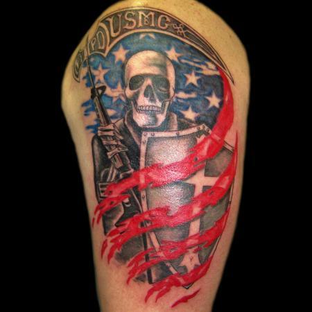 USMC flag tattoo by artist Ainslie Heilich