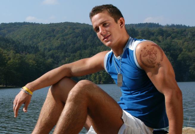 Marine with tattoo