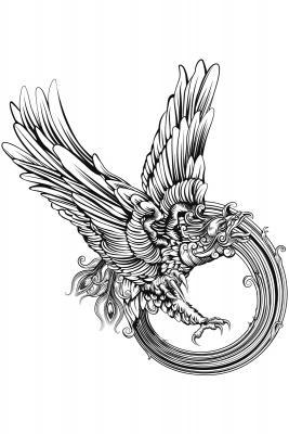 Woodcut phoenix