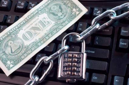 Locked computer with dollar bill