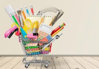 cart of school supplies