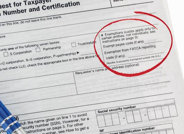 W-9 Tax Form - Exemptions
