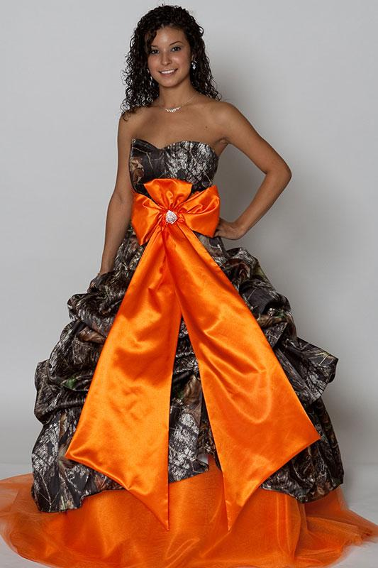 Camo prom dresses slideshow for Pink and orange wedding dresses