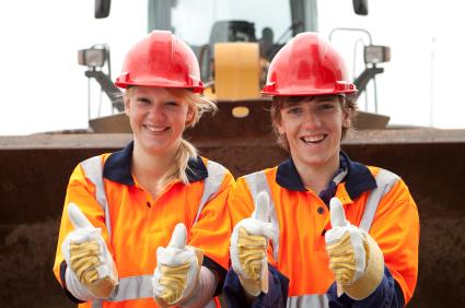 Teenage road construction trainees