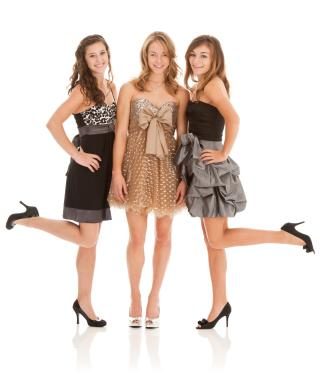 Teens in semi-formal dresses