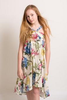 girl in floral blue dress