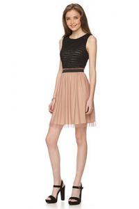 Juniors' Speechless Mesh Overlay Lace & Chiffon Dress