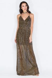Gold Lamé Maxi Dress