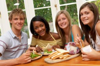 Teens with snacks