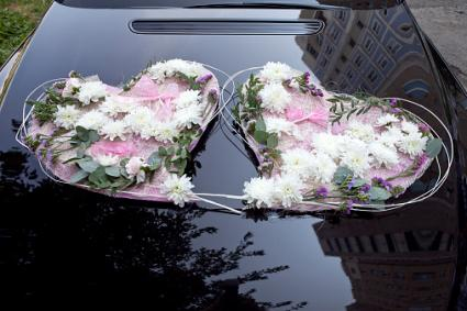 Car Decorated with Flowers