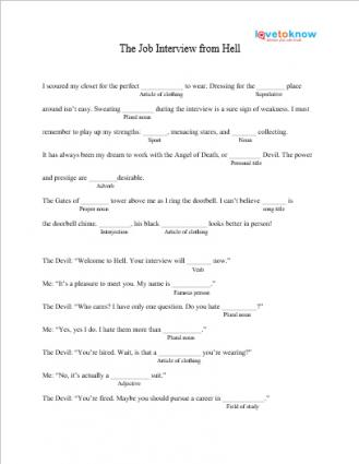 Job Interview From Hell Mad Lib Printable
