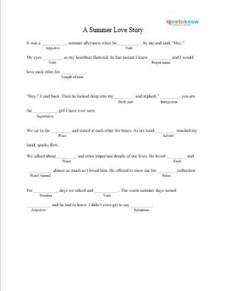 A Summer Love Story Mad Lib Printable