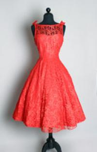 Vintage Prom Dress on Red Lace Party Dress