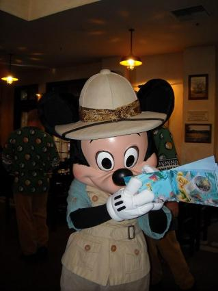 Safari Mickey signs autographs at Animal Kingdom
