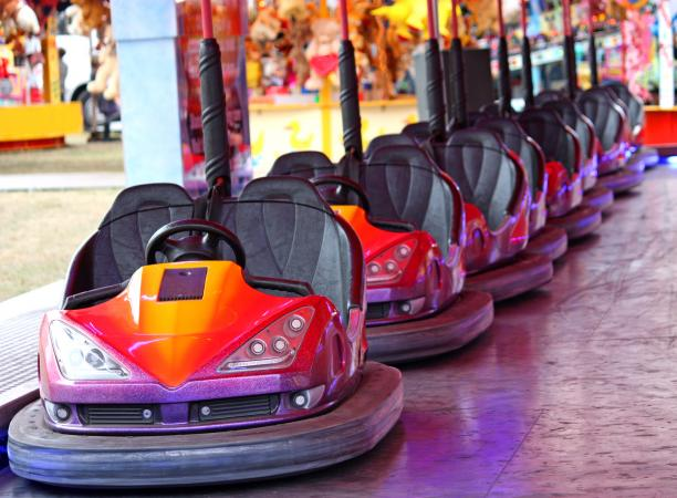 Line of bumper cars