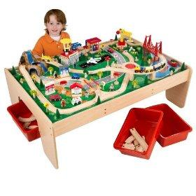 Wooden toy trains and table lovetoknow for 100 piece cityscape train set and wooden activity table