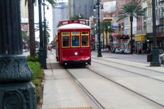 Trolley in the streets of New Orleans