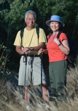 Mature couple on hike