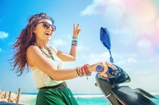 Woman riding a motorbike