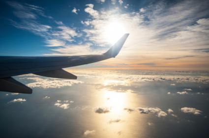 Airplane sunrise view