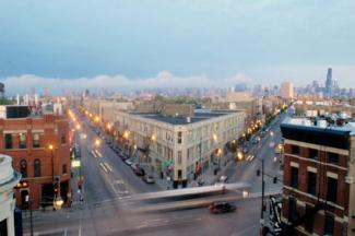 The North intersection in Wicker Park, Chicago