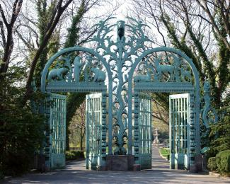 Rainey Memorial Gates Entrance at North Side of Bronx Zoo