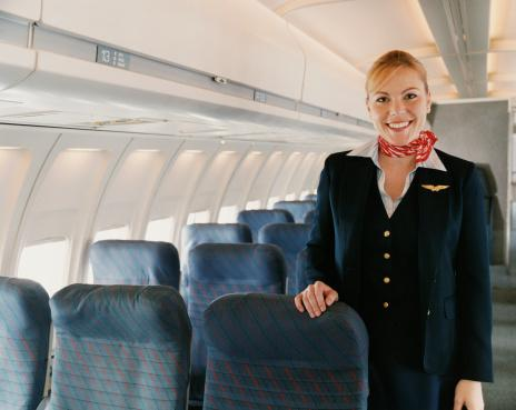 Flight Attendant on a Plane