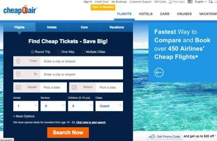 Screenshot of cheapoair.com homepage