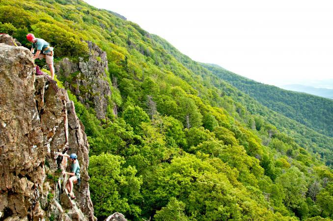 Rock climbing on Little Stony Man
