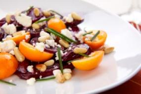 A plate of beet salad.