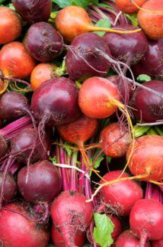Fresh rinsed beets.