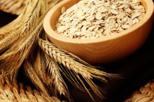 Oat grains and bowl of rolled oats
