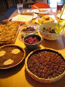 Vegan Thanksgiving spread.