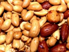 Mixed, spiced nuts.