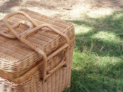 Straw picnic basket.