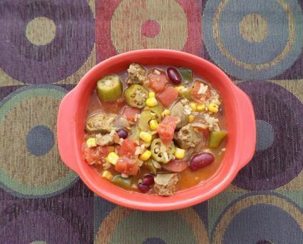 Vegetarian gumbo with vegetarian sausage
