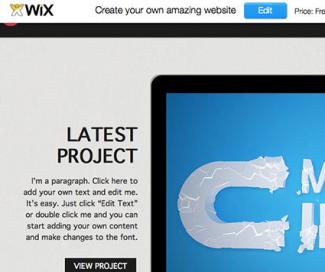 Screenshot of Wix template website builder