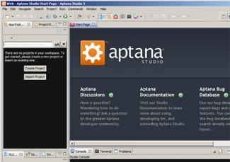 Screenshot of Aptana Studio 3 software
