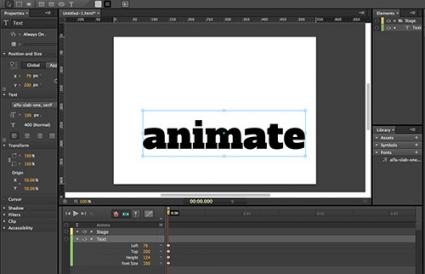 Screenshot of Adobe Edge Animate workspace