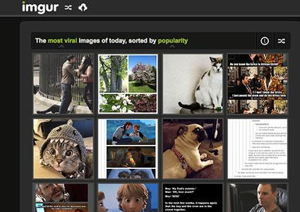 Screen shot of imgur.com home page