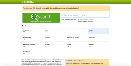 Screen shot of Search Creative Commons