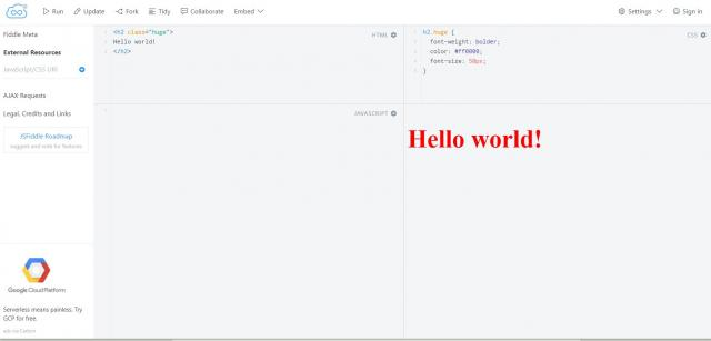 Screenshot of JSFiddle