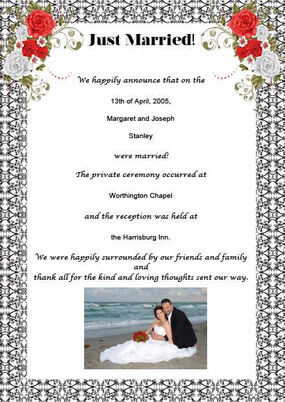 wedding announcement wording - Post Wedding Reception Invitation Wording