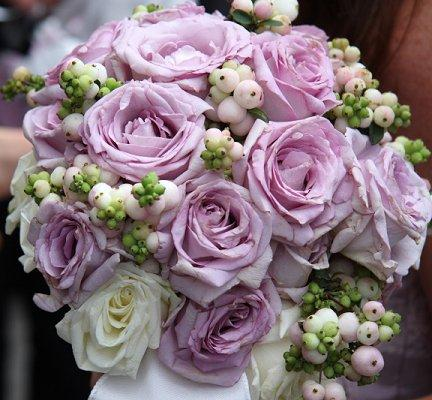 Purple And White Wedding Flower Bouquets With