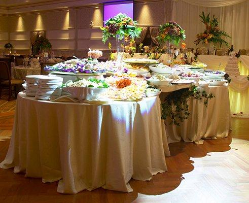 Buffet table setting ideas chairs set up for an event in the botanical center plaza tables set - Buffet table images ...