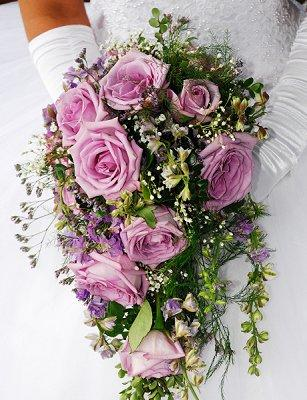 rose cascade bouquet can be strikingly elegant Purple Wedding Flowers