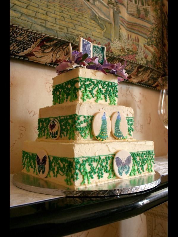 butterfly and peacock cake with vines