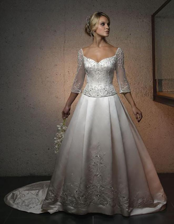 Silver Wedding Dresses with Sleeves_Wedding Dresses_dressesss