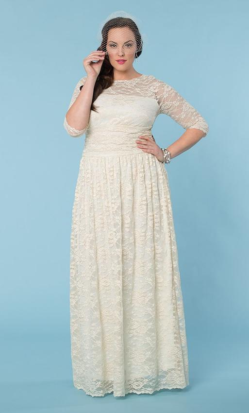 Wedding dresses with sleeves slideshow for Plus size lace wedding dresses with sleeves